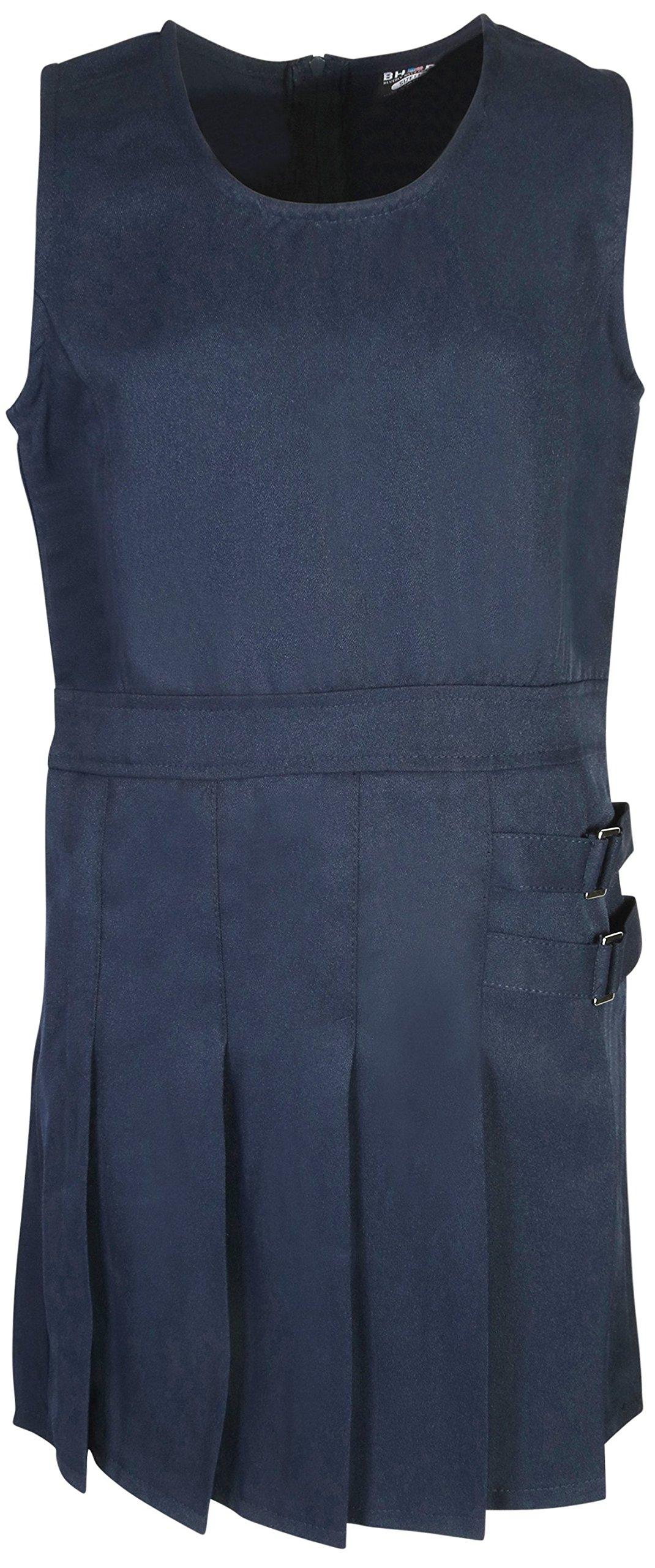 Beverly Hills Polo Club Girls School Uniform Pleated Twill V-Neck Jumper, Navy, Size 7'