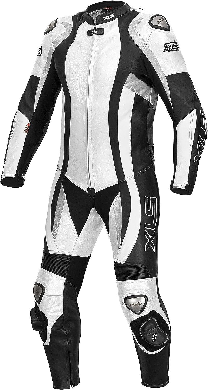 XLS Tuta intera da motociclista in pelle di alta qualit/à colore: bianco//nero