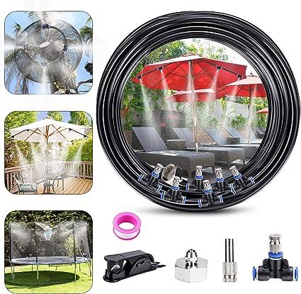 Fixget Nebulizador Jardin, Sistema de enfriamiento de Niebla, Kit de Niebla Exterior Sistema de riego Patio Mister 32.8ft(10M) + 12 boquillas de Niebla: Amazon.es: Jardín