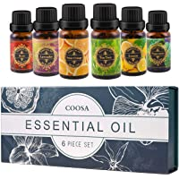 COOSA Essential Oils Gift Set 6 x 10 mL,100% Pure Natural Therapeutic Grade Aromatherap Kit for Diffuser and Humidifier, 6 Fragrance (Lavender,Tea Tree, Peppermint, Lemon Grass,Sweet Orange, Rose) Gift for Beginner Kit