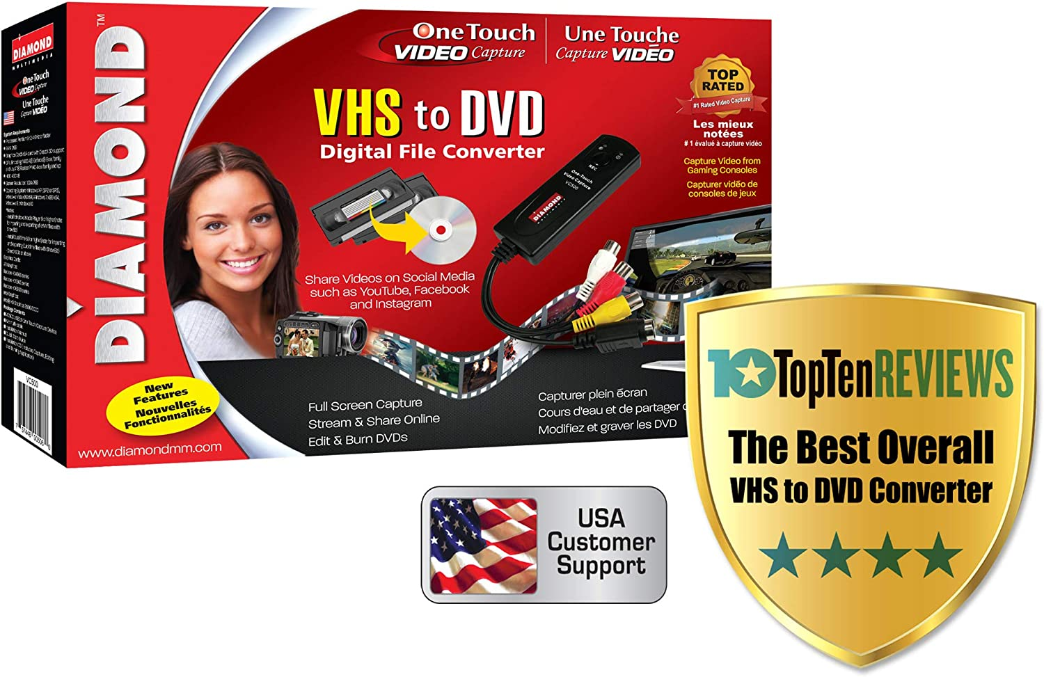 Diamond VC500 USB 2.0 One Touch VHS to DVD Video Capture Device with Easy to use Software, Convert, Edit and Save to Digital Files For Win7, Win8 and Win10: Computers & Accessories