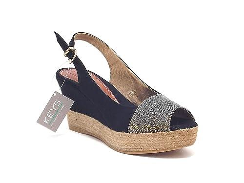 34be8ebb8a1b68 Keys Scarpe Donna, Modello 5161, Sandalo in alcantare e Corda, Colore Nero  e Argento: Amazon.it: Scarpe e borse