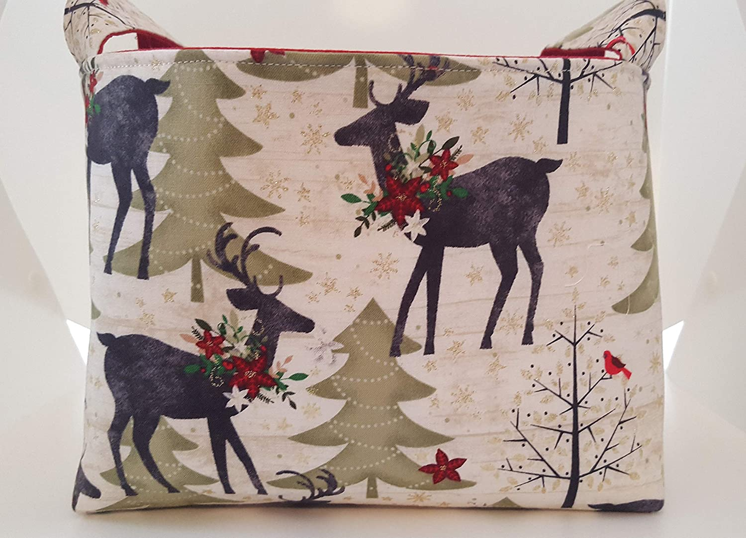 Christmas Fabric Organizer Basket Bin Caddy Storage Container - Deer in the Woods
