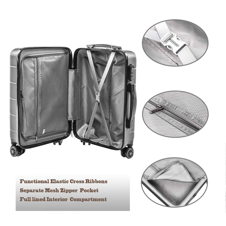 Valise de Mode 19TC1-Bleu-55cm 4 Doubles /à roulettes Silencieuses Combinaison de Serrure CarryOne Valise Rigide L/ég/ère Bagage