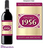 1956 Vintage Happy 60th Birthday 2016 Wine Bottle Label Gift for Women and Men