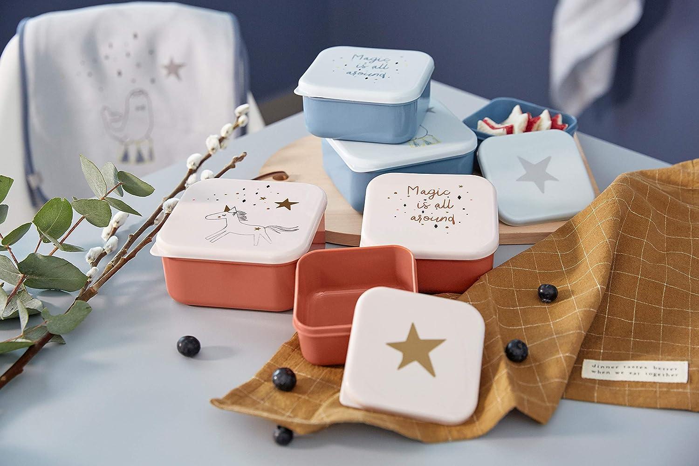 L/ÄSSIG Kinder Snackbox 3er Set stapelbar sp/ülmaschinengeeignet//Snack Box More Magic Horse rosa