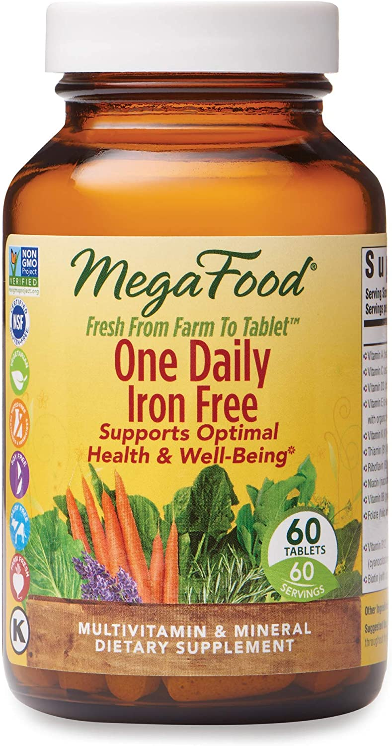 MegaFood, One Daily Iron Free, Supports Optimal Health and Wellbeing, Multivitamin and Mineral Supplement, Gluten Free, Vegetarian, 60 Tablets