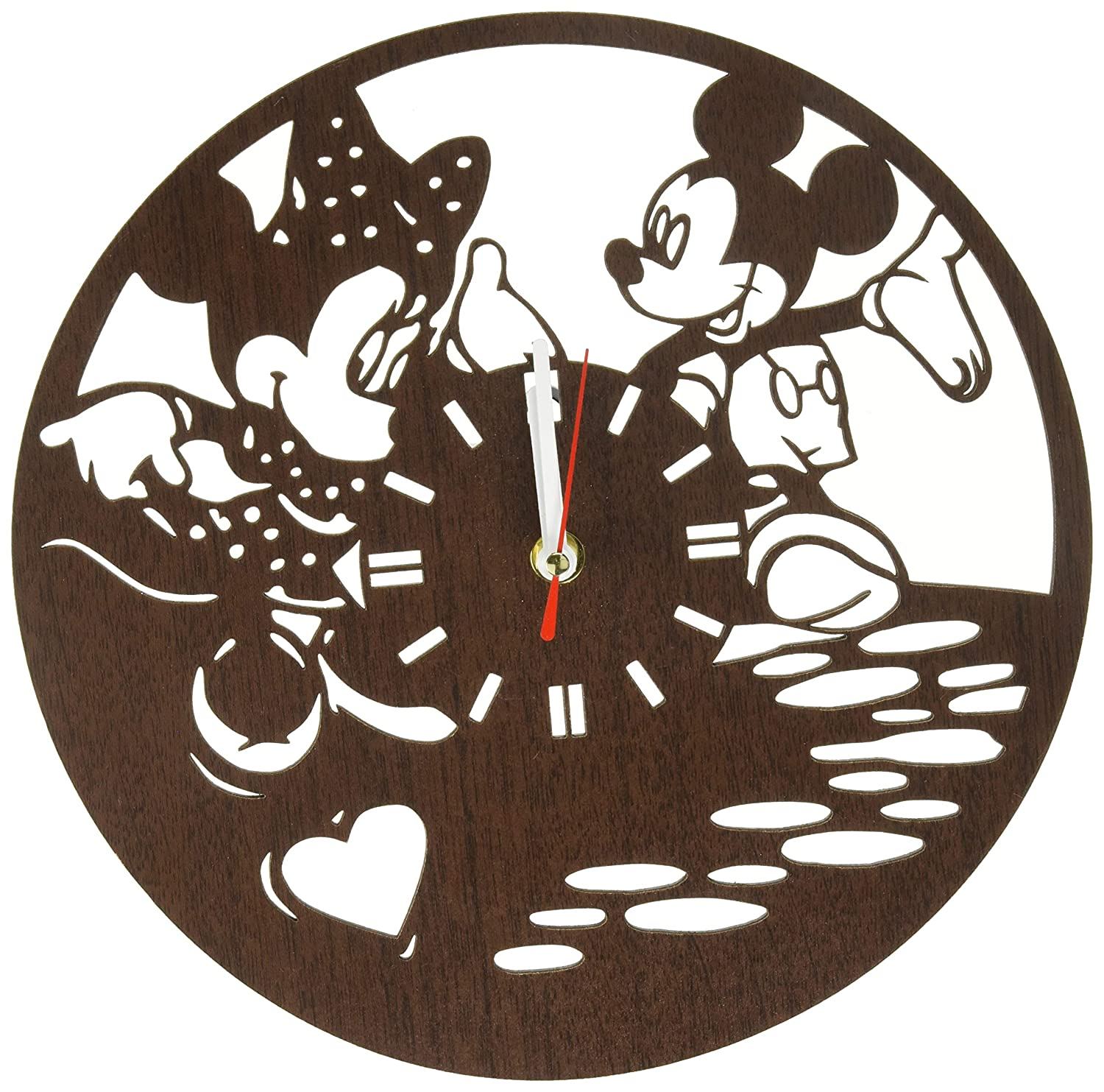 Birthday Party Decorations Baby Room Nursery Home Decor Valentines Day Handmade Wooden Wall Clock Mickey and Minnie Mouse Gifts for Kids Boys Girls Disney Fans
