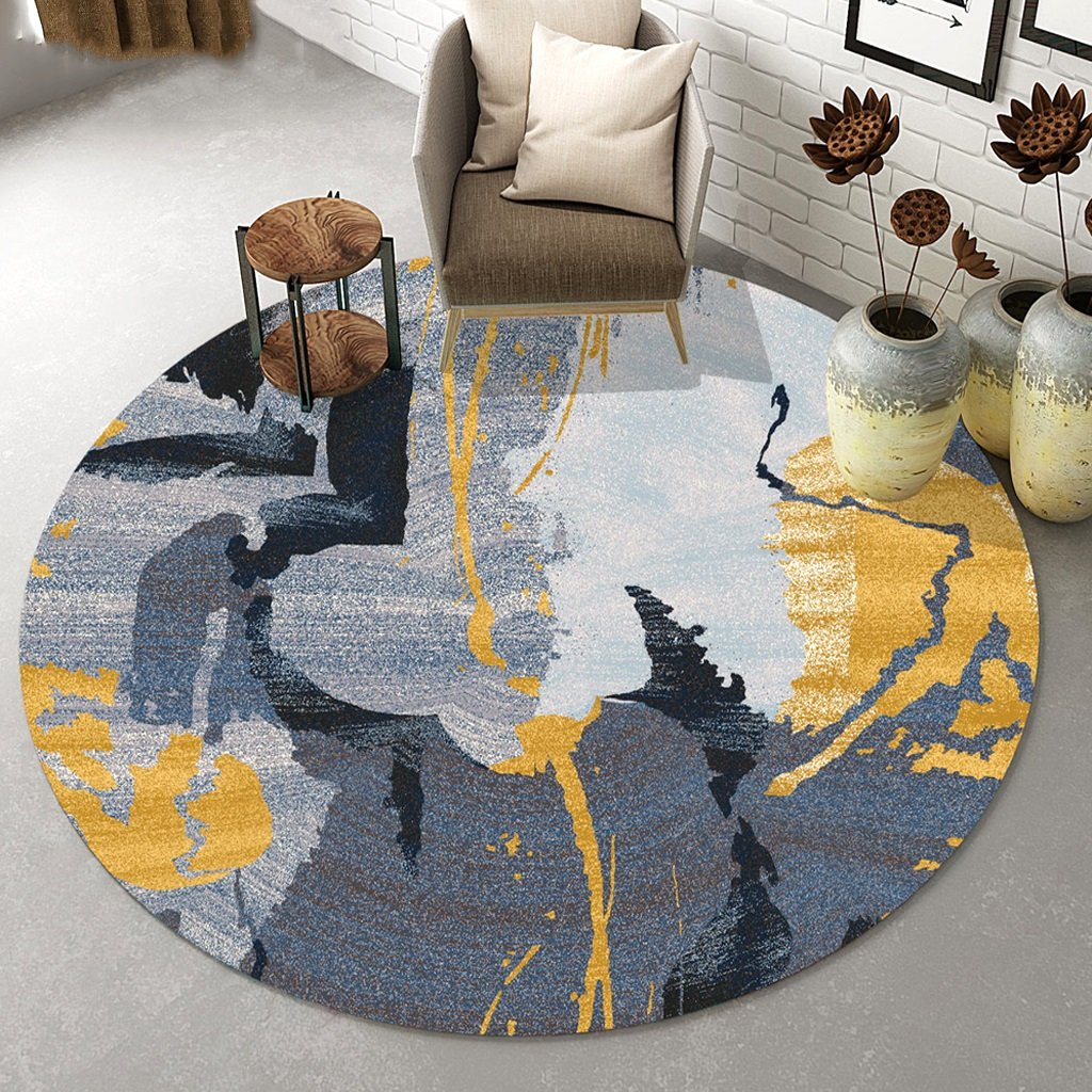 Carpet personalized round rug patterned living room rug stylish children's crawl carpet geometric image/abstract pattern carpet soft and comfortable (Size : Diameter 100cm)