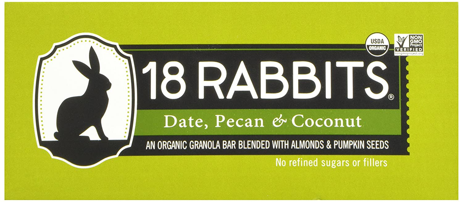 18 Rabbits Organic Gluten Free Granola Bar, Date, Pecan & Coconut, 1 6  Ounce (Pack of 12)