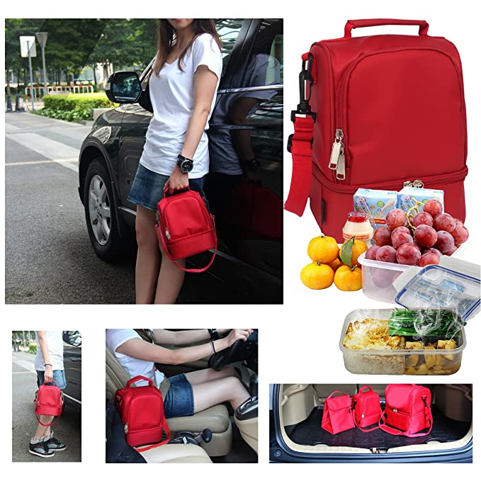 739729e18ffa Beyllord Adult Lunch Box Insulated Lunch Bag Cooler Tote Bag for Men,  Women, Double Deck Cooler(Red)