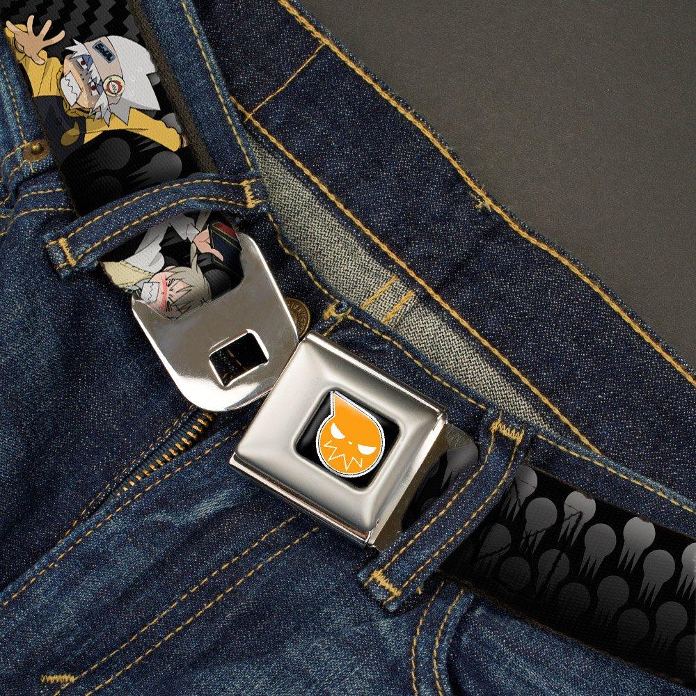 Buckle-Down Seatbelt Belt 1.5 Wide SOUL EATER Soul /& Maka MAKA CHOP Black//Grays//Yellow 32-52 Inches in Length