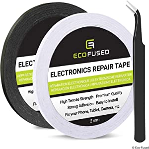 Eco-Fused Adhesive Sticker Tape (2 Rolls: 0.08 x 55 Yard (White/Black), Double Sided Adhesive Tape)