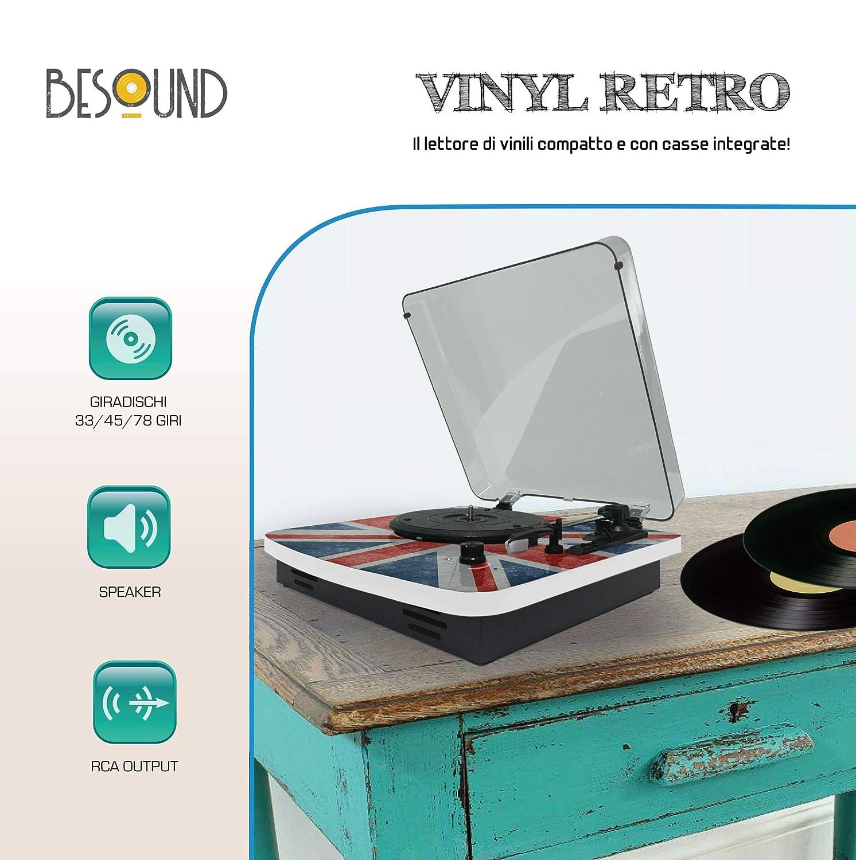 BeSound Vinylretro Tocadiscos, 33,45,78 RPM, 2 W: Amazon.es ...