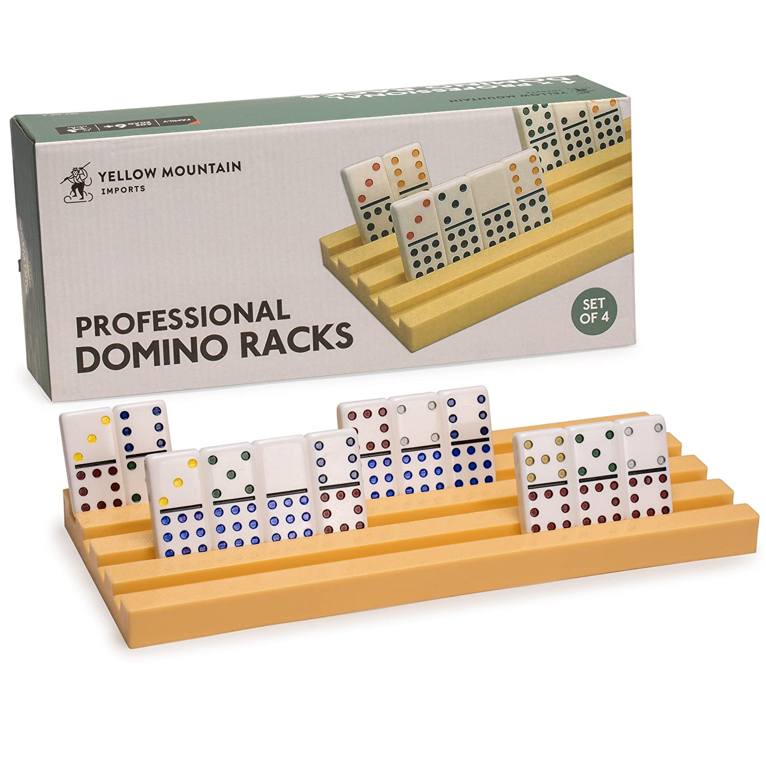 """Yellow Mountain Imports Professional Domino Racks/ Trays (Set of 4)- Fits Perfectly for Professional Size Dominoes 2"""" x 1"""" x 3/8"""" Thick (50mm x 25mm x 9.5mm) - Dominos NOT Included"""