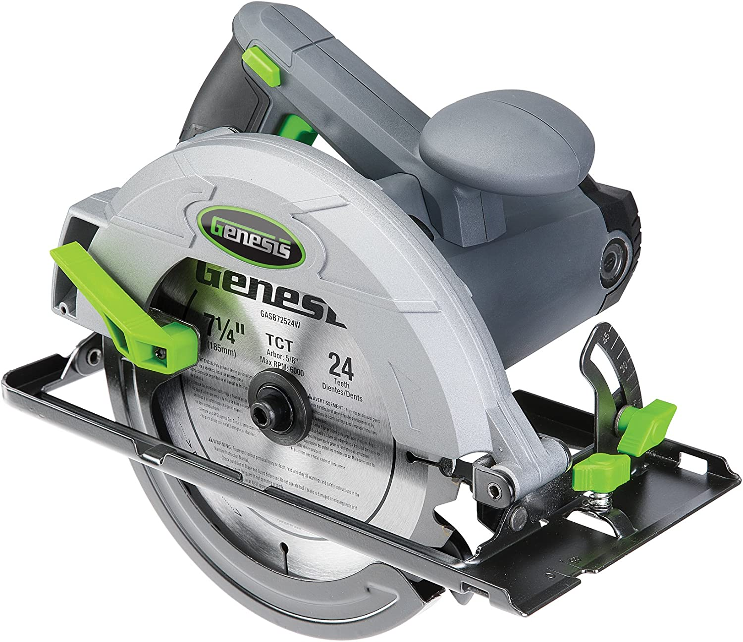 "Genesis GCS130 13 Amp 7 1/4"" Circular Saw with Metal Lower Guard, Spindle Lock, 24T Carbide Tipped Blade, Rip Guide, and Blade Wrench"