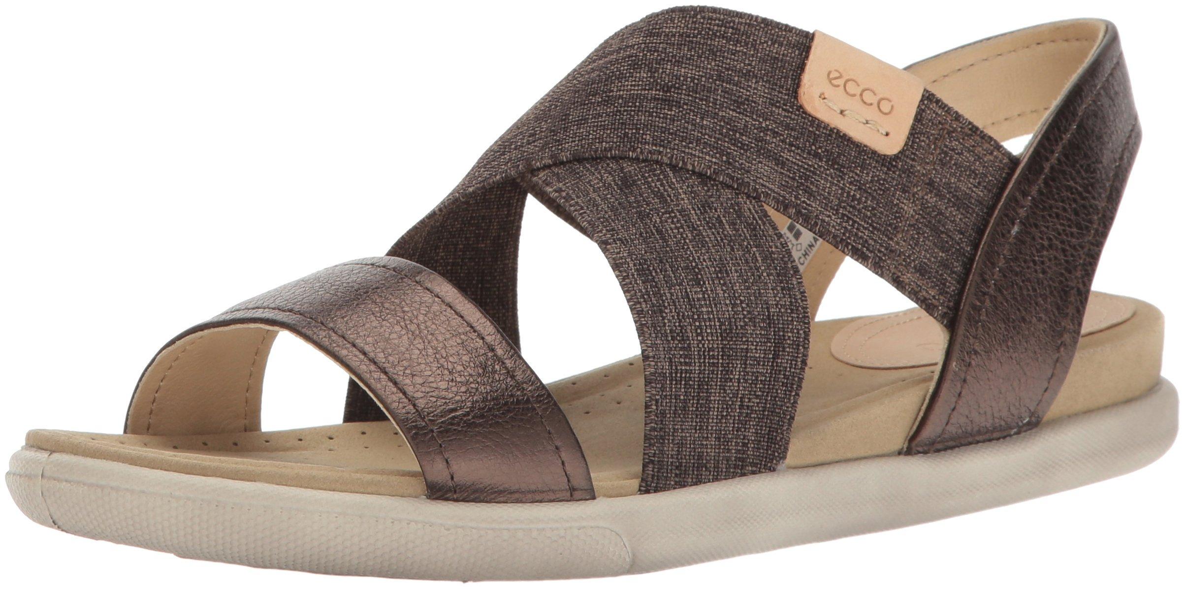 ECCO Women's Damara 2-Strap Flat Sandal, brown, Licorice/Powder, 39 EU/8-8.5 M US by ECCO