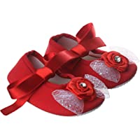 Daizy Cute Red Flower Shoes/Booties for Cute Baby Girl, First Walkers Cotton Solid Pattern Soft Sole Baby Toddler Prewalkers Shoe (0-12 Months) 82
