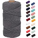 NOANTA Grey Macrame Cord 3mm x 109yards, Colored Macrame Rope, 3 Strand Twisted Cotton Rope Macrame Yarn, Colorful Cotton Cra