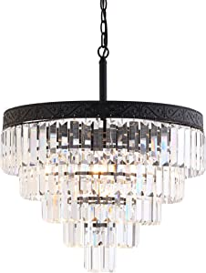 "JONATHAN Y JYL9007B Wyatt 20"" 4-Light Crystal LED Chandelier Contemporary,Classic,Traditional Dimmable, Adjustable, for Dining Room, Foyer, Bedroom, Bronze/Clear"