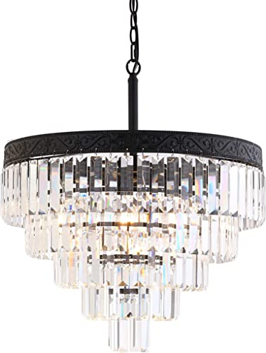 JONATHAN Y JYL9007B Wyatt 20″ 4-Light Crystal LED Chandelier Contemporary,Classic,Traditional Dimmable