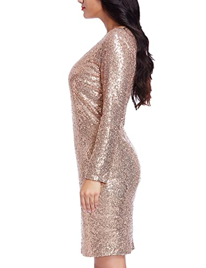38a7e7a3 Grapent Women's Plus Size Sequin Cocktail Sheath Short Dress Bodycon Long  Sleeve Rose Gold 14W at Amazon Women's Clothing store: