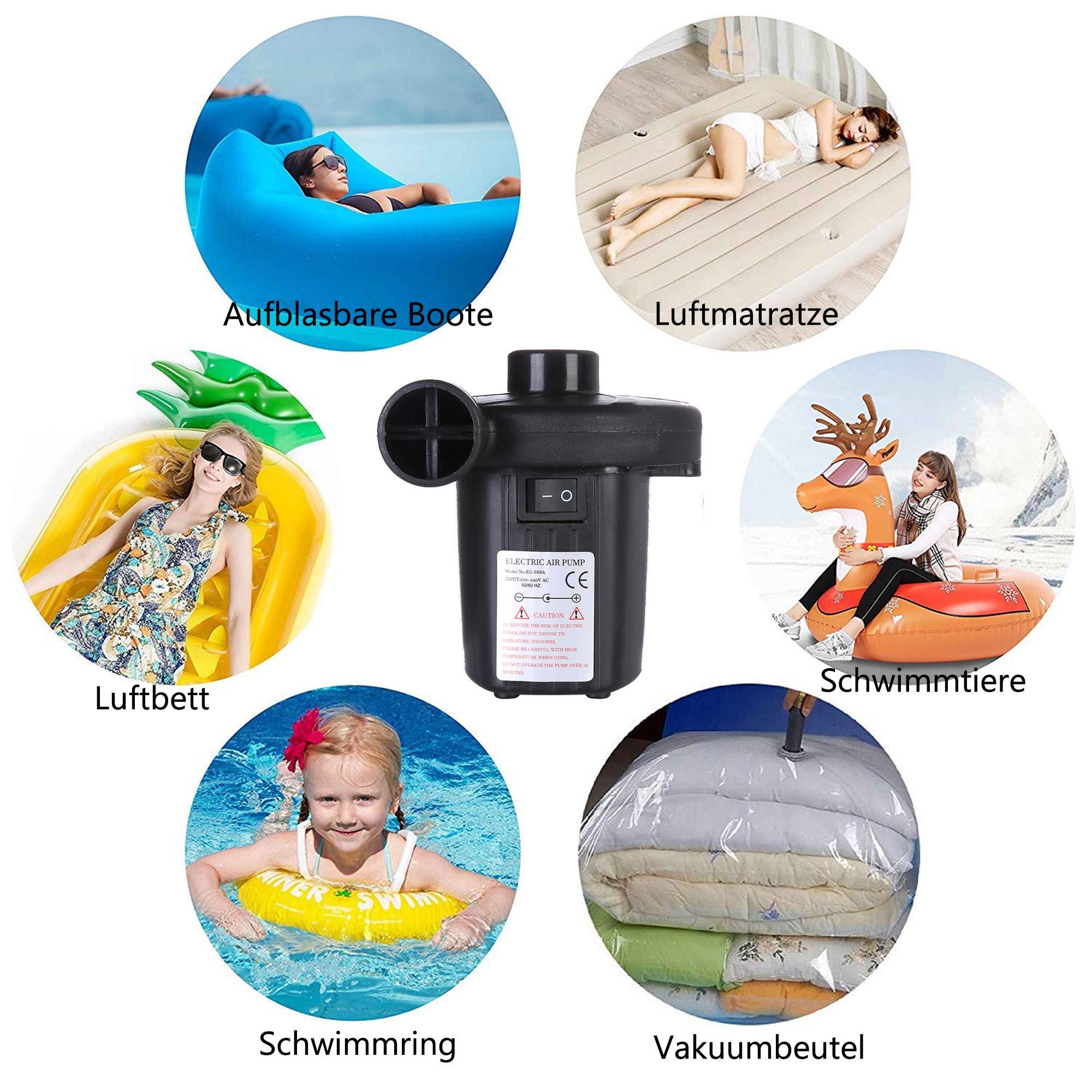 Elektrische Luftpumpe, Luftmatratze Pumpe 2 in 1 schnelles Auf/Abpumpen AC 100-240V/DC 12V, Elektropumpe mit 3 Aufsätzen für aufblasbares Matratze, Planschbecken, Zelt, Schlauchboote, Schwimmring