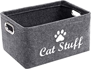 Felt Pet Toy and Accessory Storage Bin, Basket Chest Organizer - Perfect for Organizing Pet Toys, Blankets, Leashes and Food - Cat - Grey