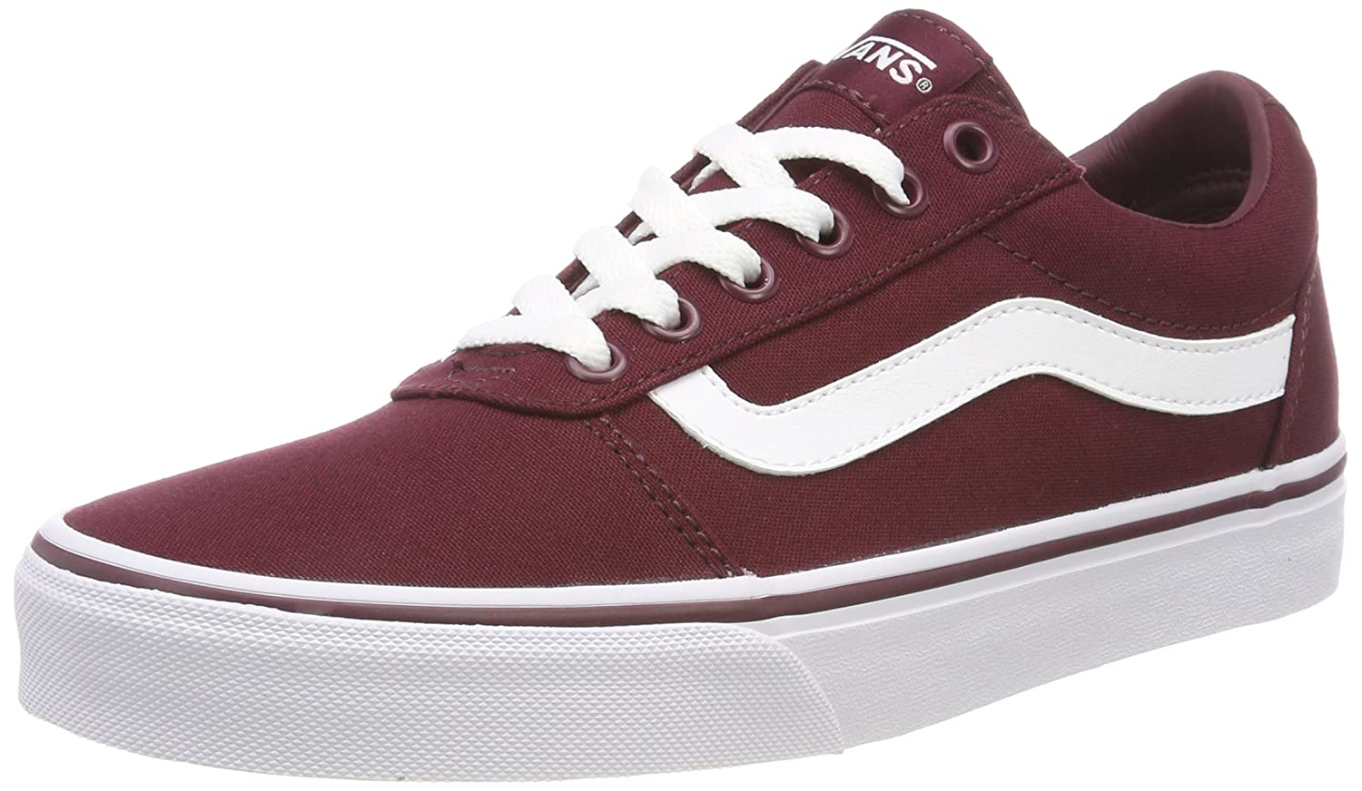Red ((Canvas) Burgundy Olq) Vans Womens Ward Suede Low Top Lace up Fashion Sneakers