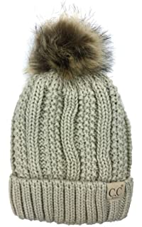 d1b0794ae4f Plum Feathers Thick Faux Fur Pom Pom Fleece Lined Skull Cap Cuff Beanie for  Kids Ages