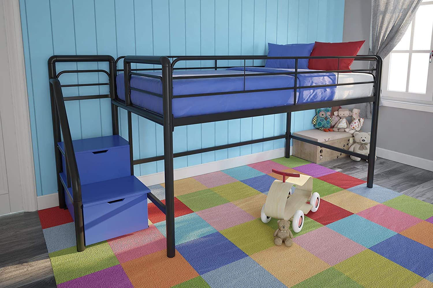 DHP Junior Twin Metal Loft Bed with Storage Steps, Space-Saving Solution, Multifunctional, Black with Blue Steps