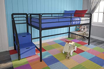 newest b676e 40910 DHP Junior Twin Metal Loft Bed with Storage Steps, Space-Saving Solution,  Multifunctional, Black with Blue Steps