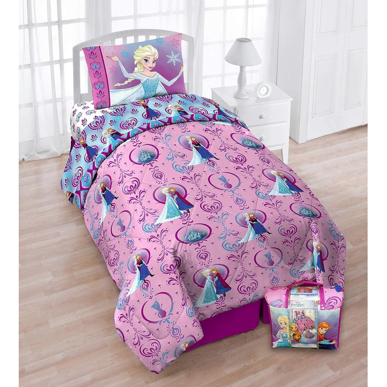 Disney FROZEN Floral Frost 4 PC Bed in a Bag, with Bonus Bag Comforter Set Franco