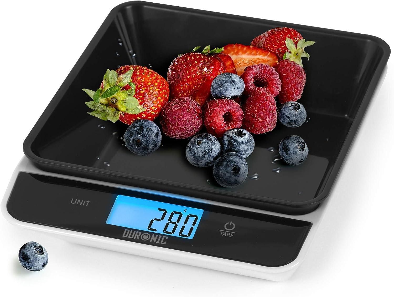 Duronic KS100 BK Báscula de cocina digital 22x18.3cm – Pantalla LDC grande con iluminación en azul – Peso máximo 5 kg – Bol de 700ml – Función tara – Mide en gr, lb, oz y ml - Color negro
