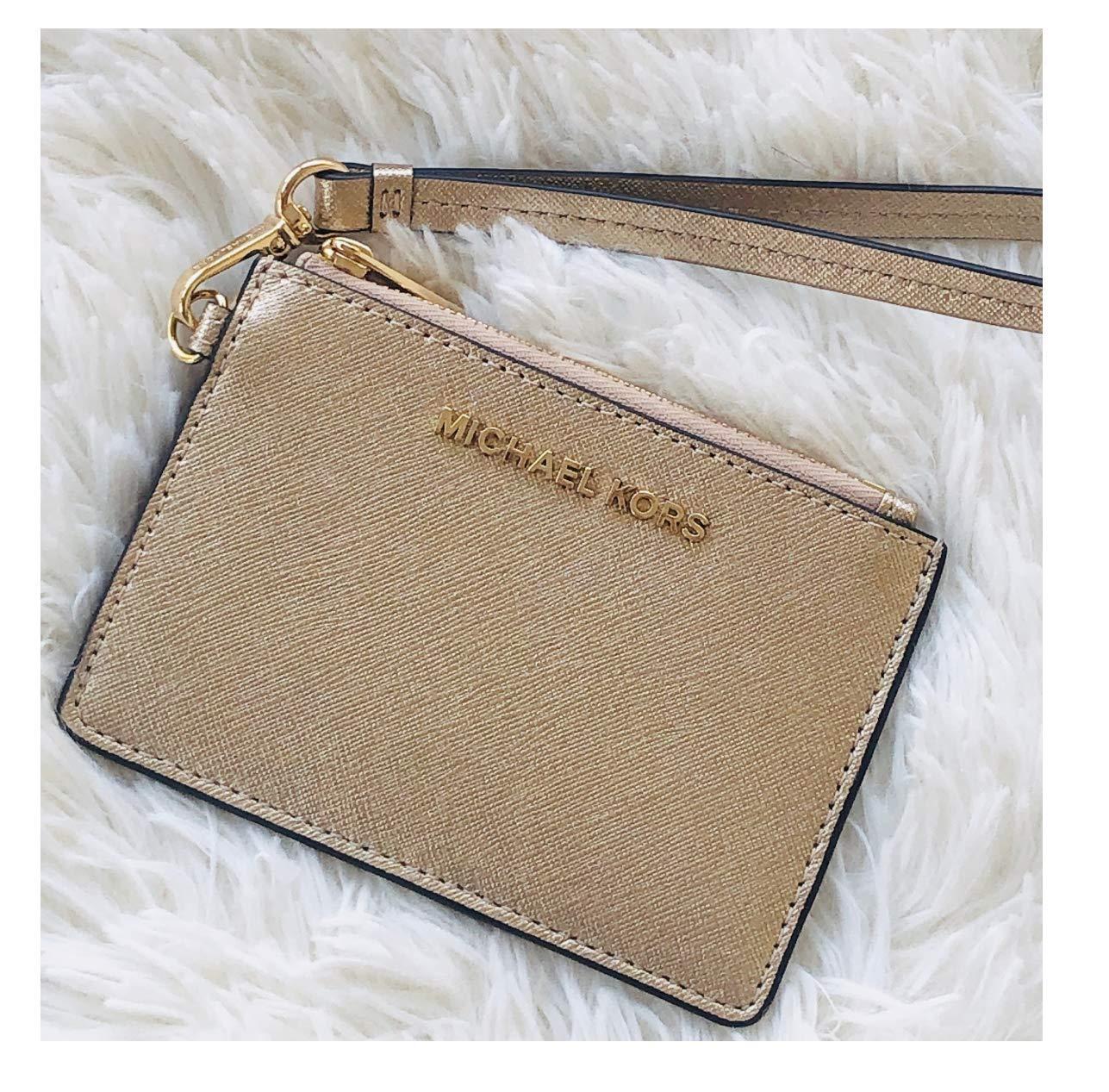 Michael Kors Jet Set Travel Coin Purse Wristlet Card Case Wallet (Pale Gold)