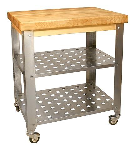 catskill craftsmen stainless steel butcher block cart - Butcher Block Kitchen Cart