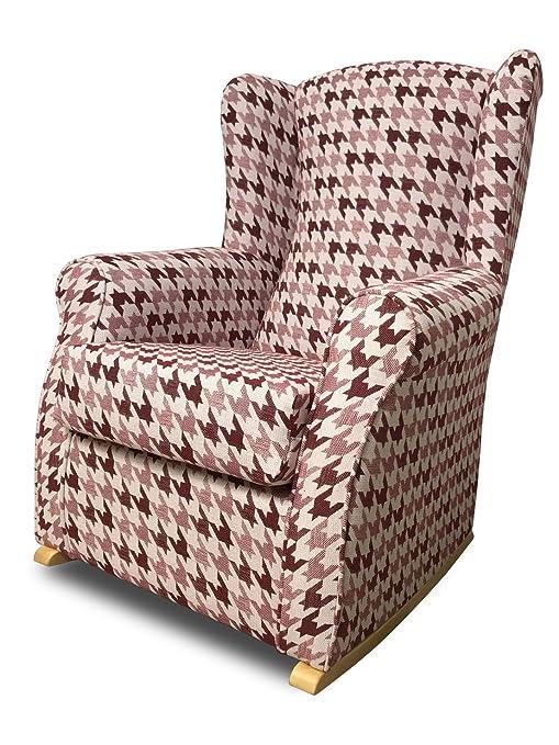 SUENOSZZZ- Sillón Butaca Balancín orejero (Ideal para Lactancia) tapizado Jacquard FROCA Color Granate. Medidas: 102 x 76 x 74 cm.