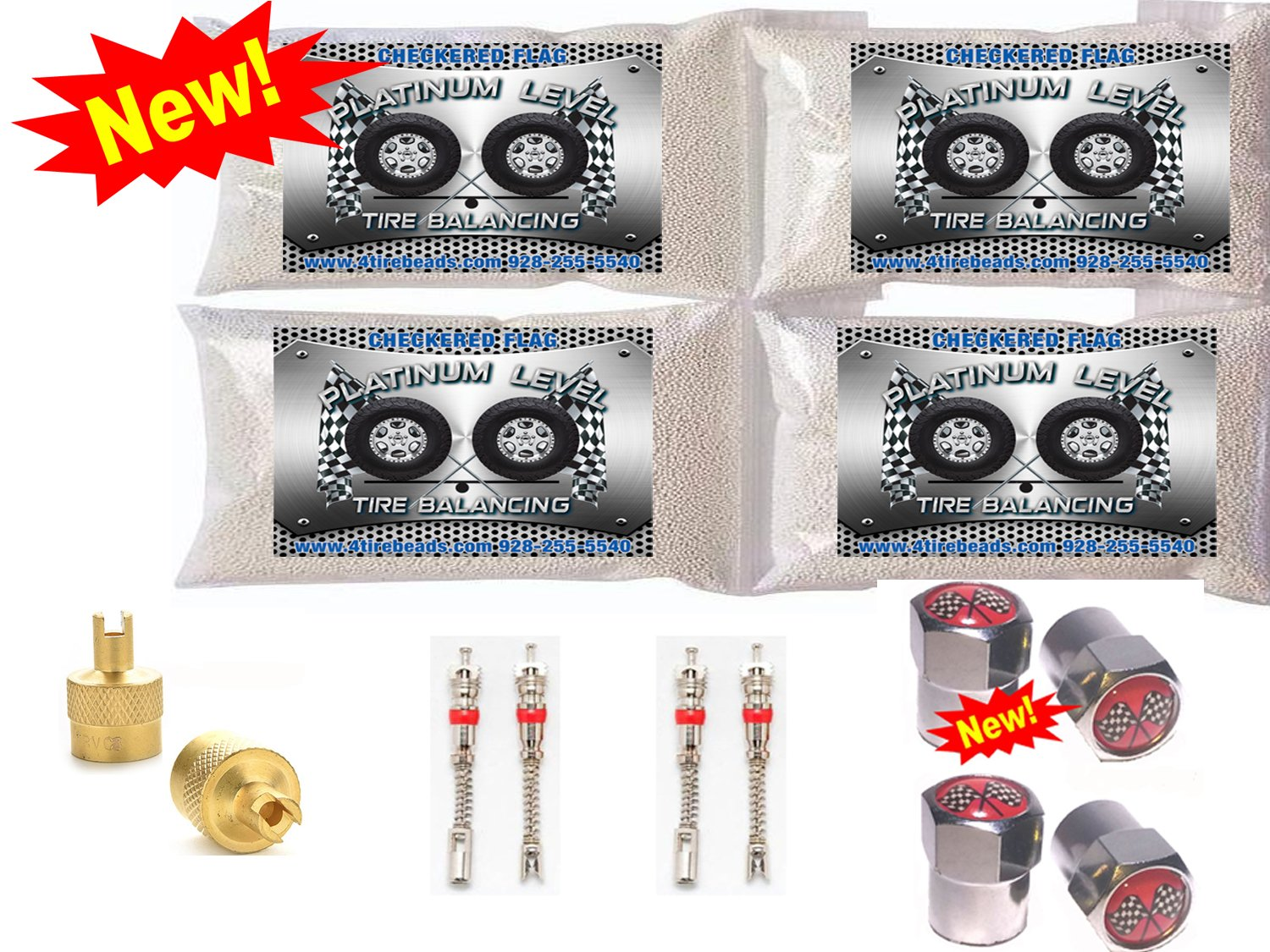 4-4oz Bags Tire Balancing Beads by Checkered Flag Tires, Platinum Level no Damage tire Balance Beads, with Filtered Valve cores, red caps, 1 Gold core Tool, Balancing Beads CFTB CFTB-4-4