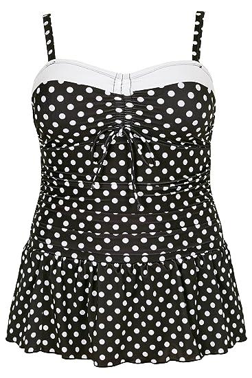 ca21e2fbfb76a Yours Clothing Women s Plus Size Monochrome Polka Dot Print Swim Dress Size  16 Black
