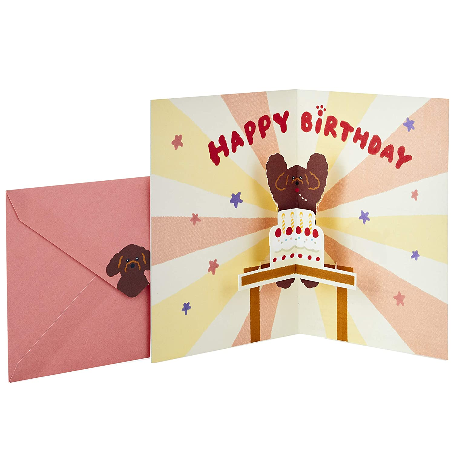 Amazon Hallmark Pop Up Birthday Greeting Card Toy Poodle With Cake Office Products