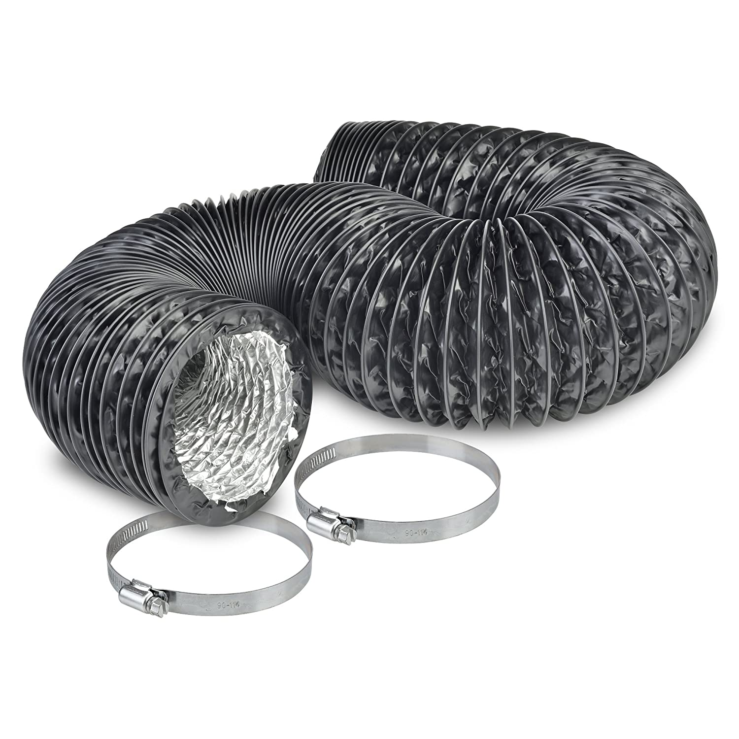 """4"""" Air Duct - 8 FT Long, Black Flexible Ducting with 2 Clamps, 4 Layer HVAC Ventilation Air Hose - Great for Grow Tents, Green Houses, House Vent Register Lines"""
