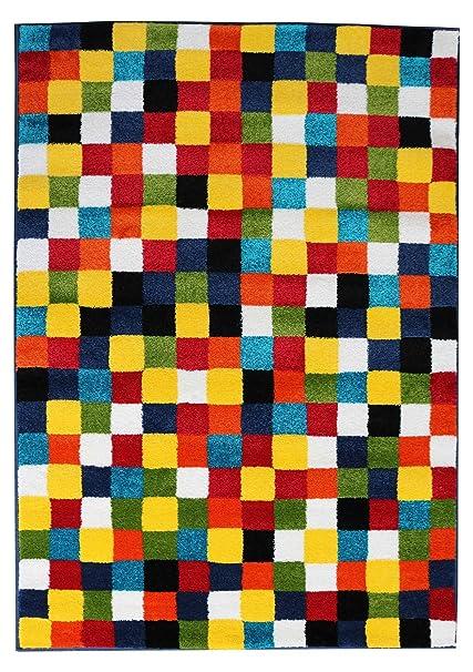 94c02d8c518e Designer tappeto Modern in Quadretti Colorati A Pelo Corto Multicolor in  diverse misure colorato