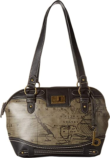 c31595d66a Amazon.com: b.o.c. Womens Voyage Satchel Charcoal/Black One Size ...
