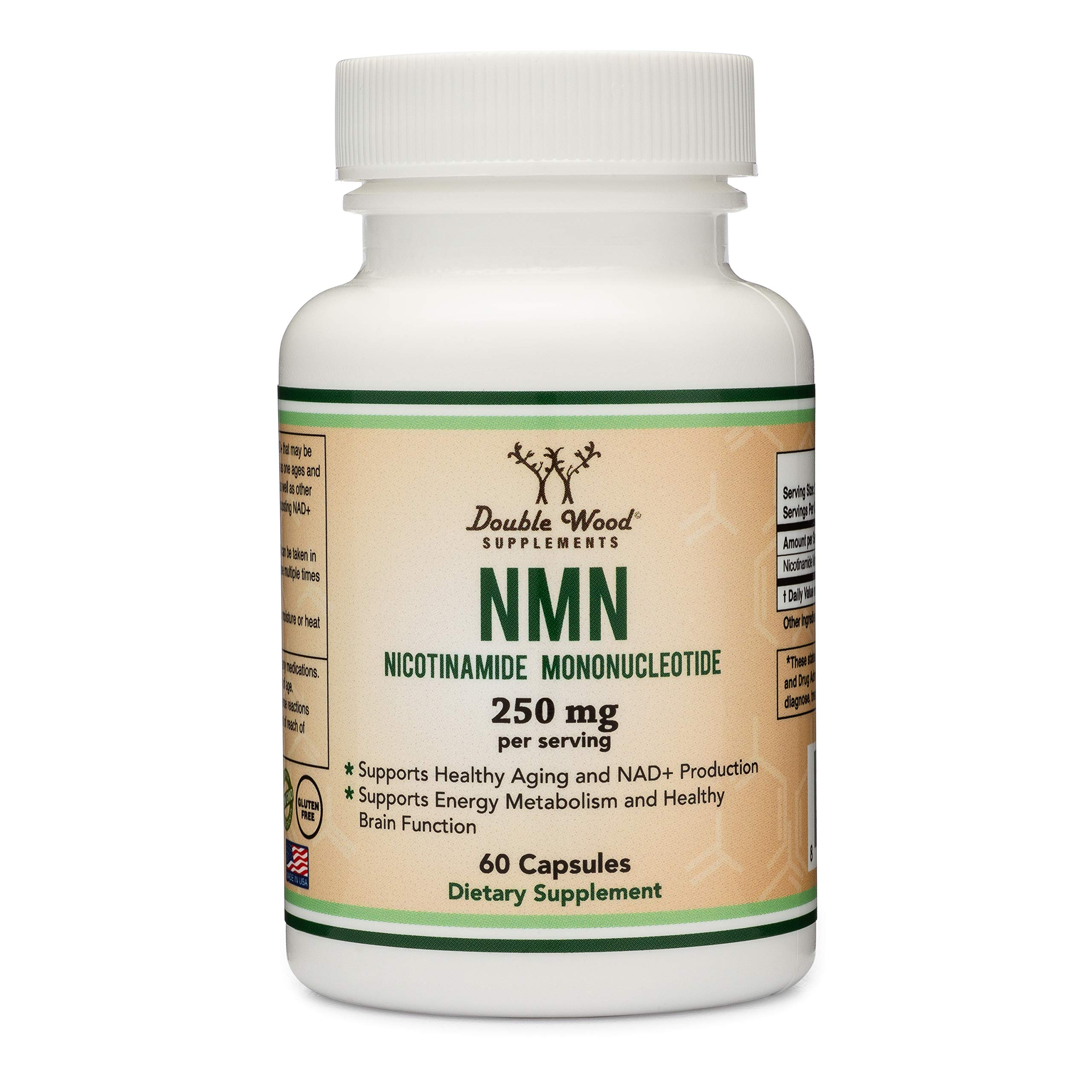 NMN Supplement 250mg Per Serving (Nicotinamide Mononucleotide), Third Party Tested, to Boost NAD+ Levels Similarly to Riboside for Anti Aging by Double Wood Supplements (125mg Per Cap, 60 Capsules) by Double Wood Supplements