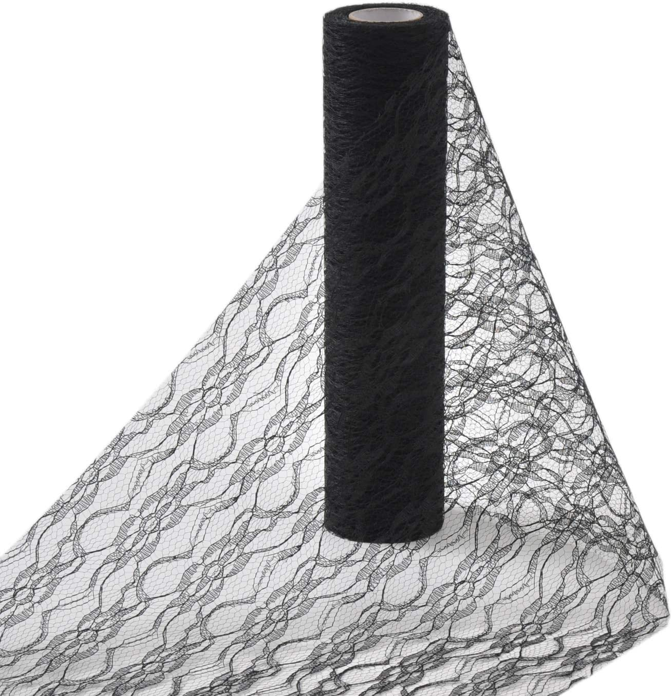 Black MingTime Lace Fabric Ribbon Roll 12 x 10 Yards Cream Floral for Burlap Lace Table Runner Vintage Chair Sash Bow DIY Wedding Party Art Craft Decoration