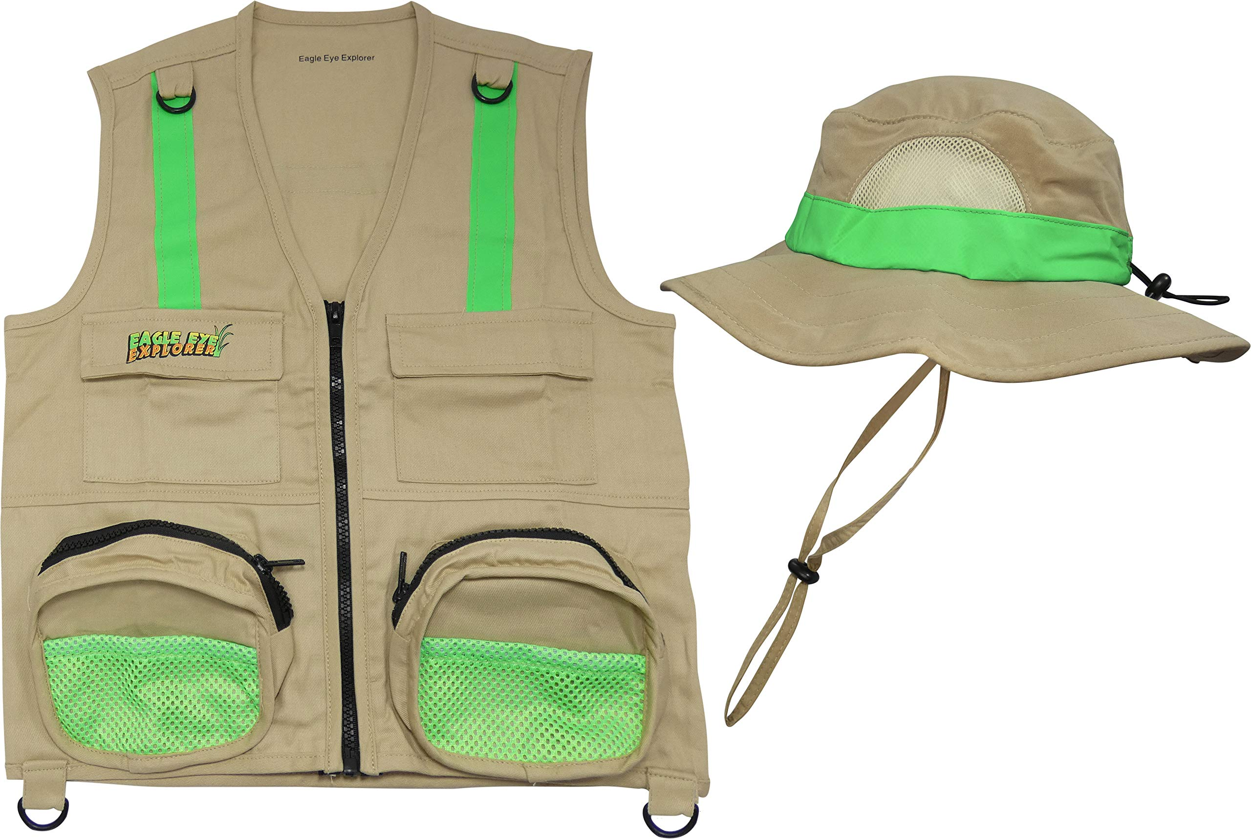 L/XL Combination Set Safe for Boys, Girls & Youth: 1 Tan Cargo Vest for Kids with Reflective Safety Straps & 1 Floppy Bucket Sun Hat with Chin Strap. Color: Tan