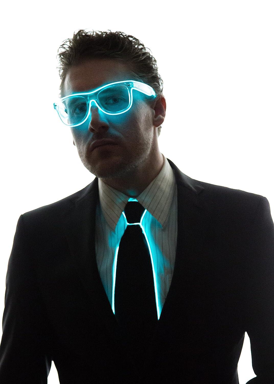 7fd190b7f02d Amazon.com: Neon Nightlife Light Up Neck Tie for Men, Aqua: Clothing