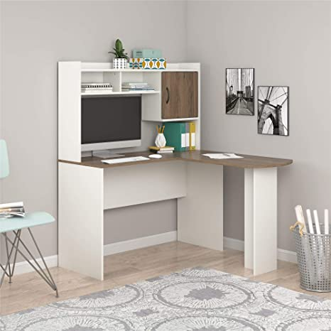 Mainstays L-Shaped Desk with Hutch, Multiple Colors (L-Shaped Desk with  Hutch, White/White) (White)