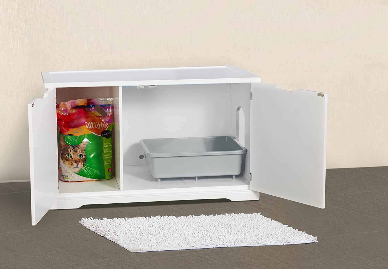 amazoncom merry products cat washroom bench white cat houses and condos pet supplies cat litter box covers