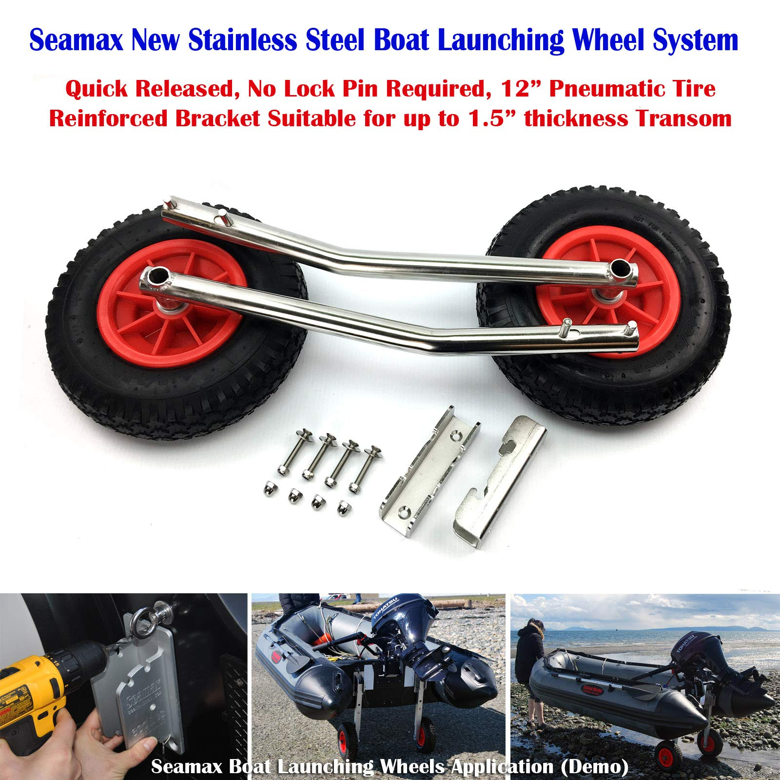 SEAMAX Stainless Steel Transom Launching Dolly with 12 Inches Wheels for Inflatable Boat and Aluminum Boat by SEAMAX